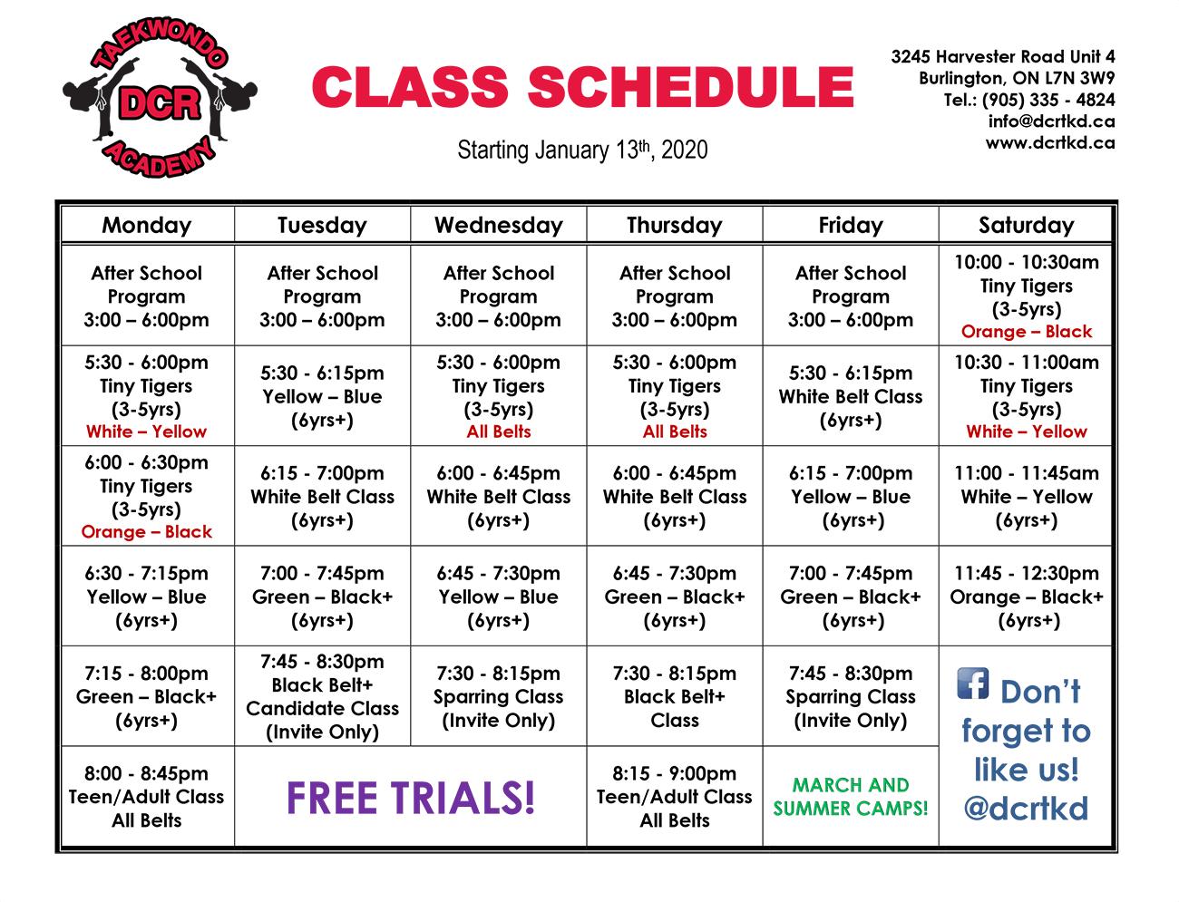 Burlington Taekwondo martial arts schedule